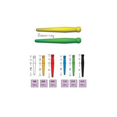 UNICLIP 210 spalitelné čepy, pr. 1,0 mm, zelené 100 ks