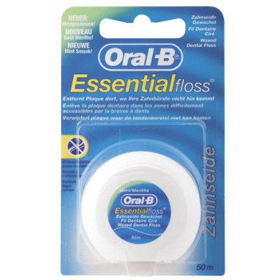 Mezizubní nit ORAL B,voskovaná,mint, Essential, 50 m