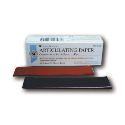 HS-artikulační papír,síla 45µ, mod/červ, prouž 12x12ks