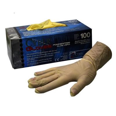 HS-rukavice latex Cybertech Aloe L,nepudr.,přírodní,100ks